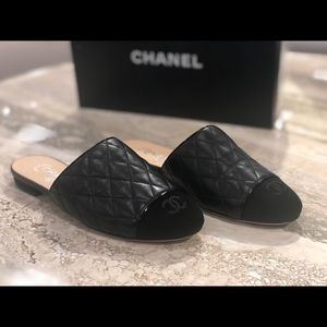 Chanel Quilted leather and suede mules 36.5